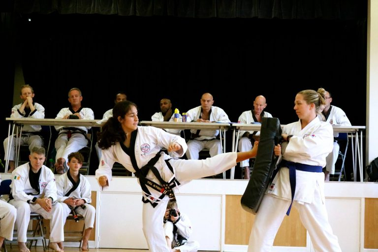 Miss Wassif, 2nd Dan demonstrates at a grading in Bedford 2018
