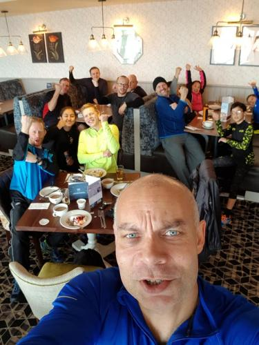 Post run breakfast for the senior and black belts at Wixams Lake 2019